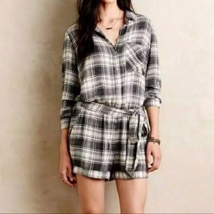 Anthropologie Cloth & Stone Plaid Flannel Romper